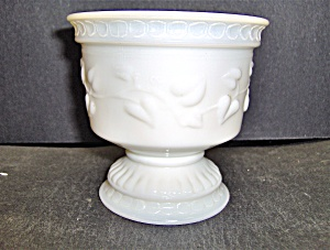 Milk Glass Heart Pedestal Planter