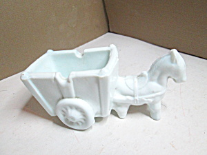 Vintage Milk Glass Donkey And Cart Open Container