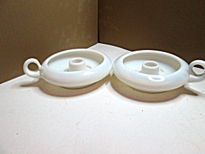 Vintage Milk Glass Round Handled Candle Holders
