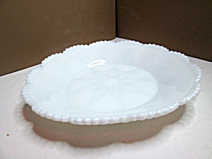 Vintage Milk Glass Scalloped Edge Plate Dish