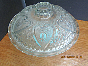 Vintage Kig Indonesia Glass Hearts Covered Candy Dish