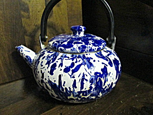 Vintage Blue & White Swirl Metalware Tea Kettle