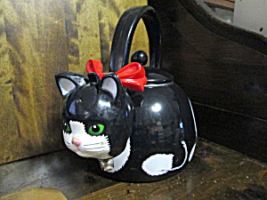 Black Cat Tea Kettle With Red Bow
