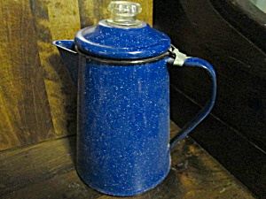 Vintage Graniteware Blue Speckled Coffee Pot