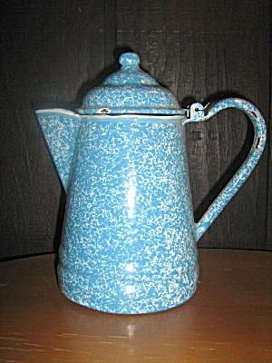 Vintage Graniteware Light Blue Swirl Coffee Pot (Image1)