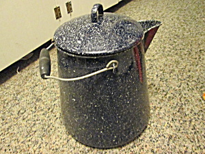 Vintage Graniteware Camp Navy/black Spackled Coffeepot