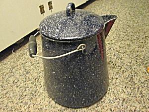 Vintage Graniteware Camp Navy/Black Spackled Coffeepot (Image1)