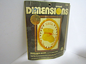 Vintage Dimesions Crewel Kit Bootie Birth Record