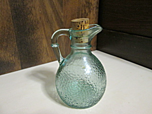 Vintage Textured Green Glass Oil/vinegar Cruet