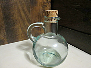 Vintage Green Smooth Glass Oil/vinegar Cruet