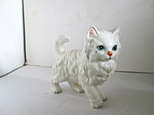 Vintage Fluffy White Persian Cat Figurine (Image1)