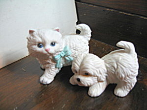 Vintage Homco Persian Kitten & Puppy Figurines (Image1)