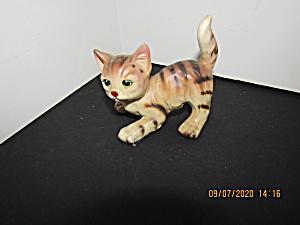 Vintage Porcelian Stripped  Cat Figurine (Image1)