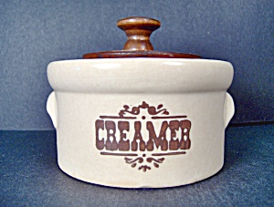 Pfaltzgraff Brown Village Wooden Lid Creamer