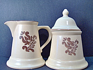 Pfaltzgraff Brown Village Covered Sugar & Creamer Set