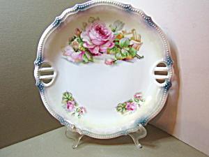 Vintage PK Silesia Lusterware Floral Cake/Serving Plate (Image1)