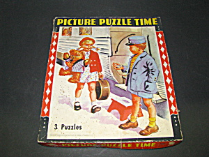 Vintage Picture Puzzle Time 3 Puzzles In One