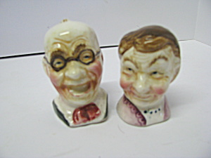 Vintage Grampa & Grandma Heads Salt & Pepper Shakers