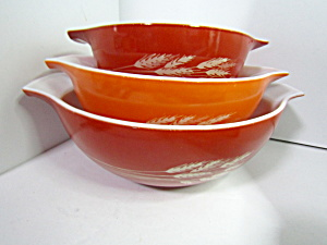 Vintage Pyrex Autumn Harvest Cinderella Three Bowl Set