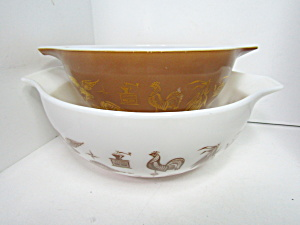 Vintage Pyrex Early American Cinderella Two Bowls