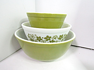 Corning Pyrex Spring Blossom Green Mixing Bowl Set