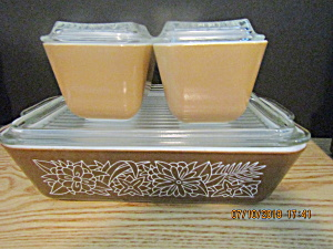 Vintage Pyrex Woodland Brown Refrigerator Set