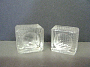 Two Vintage Square With Round Center Salt Cellars
