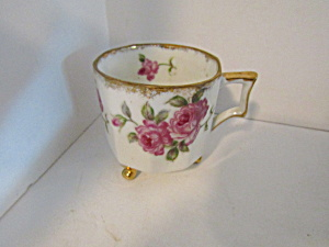 Vintage Decorative Pink Floral Rose Footed Cup
