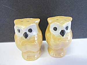 Vintage Lusterware Owl Salt & Pepper Shaker Set