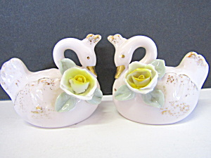 Vintage Swans Salt & Pepper Shaker Set