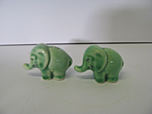 Vintage Green Elephant Salt And Pepper Shakers