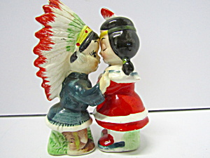 Vintage Kissing Indian Chief & Squaw Salt & Pepper Set