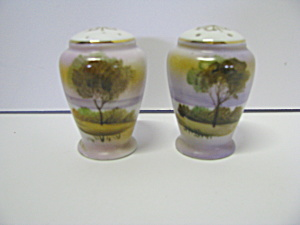 Vintage Sunset Scene Salt & Pepper Shaker Set