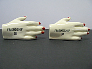 Vintage Friendship Shaking Hands Salt & Pepper Set