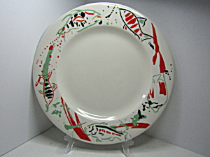 Vintage Syracuse China Chop Plate Red/black Fish