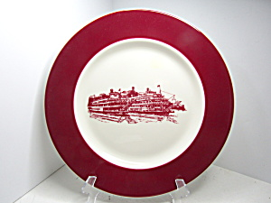 Vintage Syracuse China Red Ship Dinner Plate