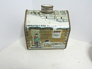 Vintage Absolutely Pure Maple Syrup Log Cabin Tin
