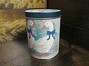 Vintage Winter Geese Tea Size Covered Canister