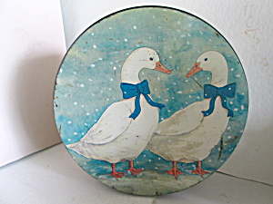 Vintage Winter Geese Large Size Covered Tin