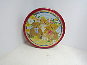 Vintage Teddy Bears & Kitten Red Covered Tin