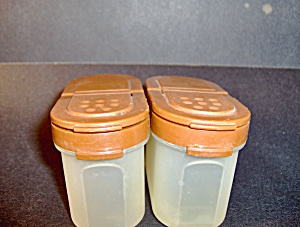 Vintage Tupperware Set Of 2 Brown Spice Containers