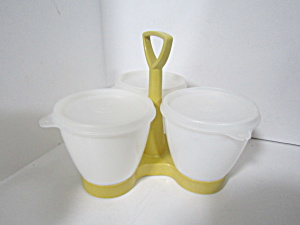 Vintage Tupperware Harvest Gold Condiment Caddy Set