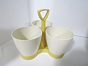 Vintage Tupperware Harvest Gold  Open Condiment Caddy  (Image1)