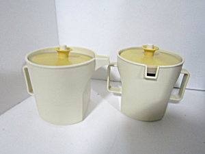 Vintage Tupperware Harvest Gold Covered Sugar & Creamer