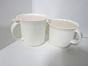 Vintage Tupperware Large Pink/white Creamer & Sugar Set
