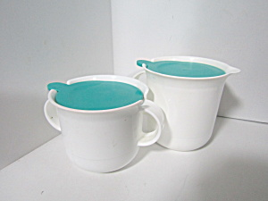 Vintage Tupperware Large Aqua/white Creamer & Sugar Set