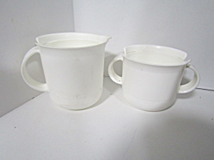 Vintage Tupperware Large White Creamer & Sugar Set