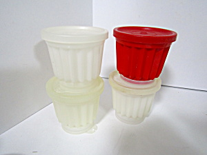 Vintage Tupperware Jel-ette Jello Clear/red Mold Set