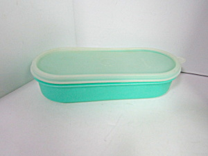 Vintage Tupperware Covered Green Oval Storage Container