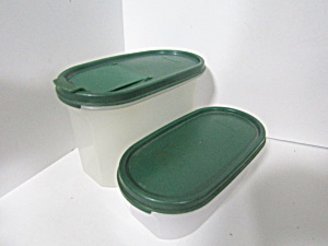Vintage Tupperware Two Green Modular Mate Space Saver